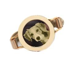 Graveer Armbanden Gouden Leren Armband met foto graveer munt smal goud