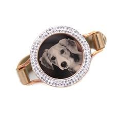 Graveer Armbanden Gouden Leren Armband met foto graveer munt smal rosé goud met strass