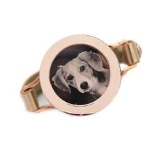 Graveer Armbanden Gouden Leren Armband met foto graveer munt smal rosé goud