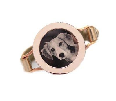 Graveer Armbanden Gouden Leren Armband met foto graveer munt smal rosé goud - Copy