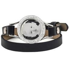 Graveer Armbanden Zwarte dubbele Leren Armband met foto graveer munt smal zilver met strass