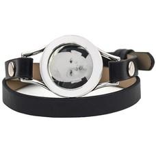 Graveer Armbanden Zwarte dubbele Leren Armband met foto graveer munt smal zilver