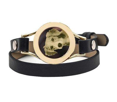 Graveer Armbanden Zwarte dubbele Leren Armband met foto graveer munt smal goud