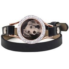 Graveer Armbanden Zwarte dubbele Leren Armband met foto graveer munt smal rosé goud met strass