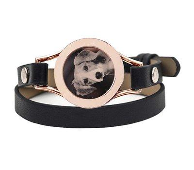 Graveer Armbanden Zwarte dubbele Leren Armband met foto graveer munt smal rosé goud