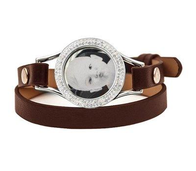 Graveer Armbanden Bruine dubbele Leren Armband met foto graveer munt smal zilver met strass