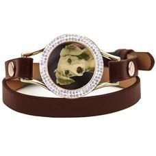 Graveer Armbanden Bruine dubbele Leren Armband met foto graveer munt smal goud met strass