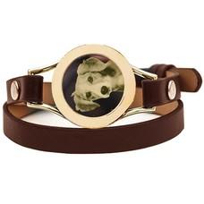 Graveer Armbanden Bruine dubbele Leren Armband met foto graveer munt smal goud