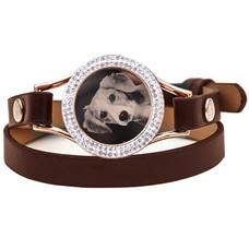 Graveer Armbanden Bruine dubbele Leren Armband met foto graveer munt smal rosé goud met strass