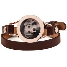 Graveer Armbanden Bruine dubbele Leren Armband met foto graveer munt smal rosé goud