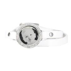 Graveer Armbanden Witte dubbele Leren Armband met foto graveer munt smal zilver met strass