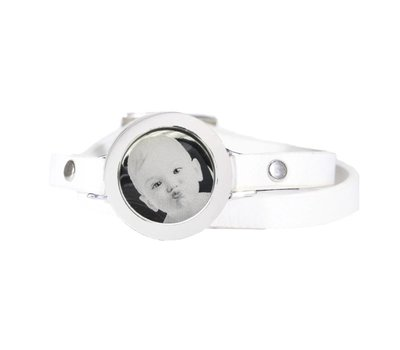 Graveer Armbanden Witte dubbele Leren Armband met foto graveer munt smal zilver