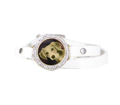Graveer Armbanden Witte dubbele Leren Armband met foto graveer munt smal goud met strass