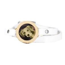 Graveer Armbanden Witte dubbele Leren Armband met foto graveer munt smal goud