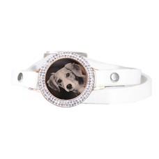 Graveer Armbanden Witte dubbele Leren Armband met foto graveer munt smal rosé goud met strass