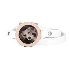 Graveer Armbanden Witte dubbele Leren Armband met foto graveer munt smal rosé goud