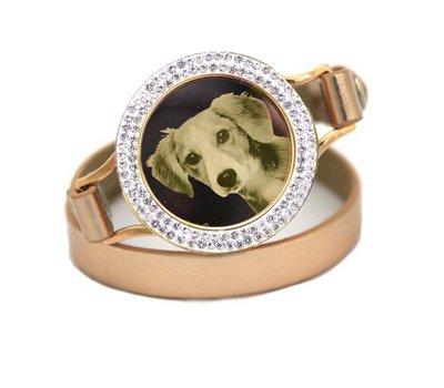 Graveer Armbanden Gouden dubbele Leren Armband met foto graveer munt smal goud met strass
