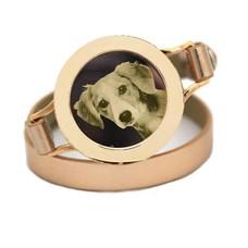 Graveer Armbanden Gouden dubbele Leren Armband met foto graveer munt smal goud