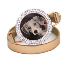 Graveer Armbanden Gouden dubbele Leren Armband met foto graveer munt smal rosé goud met strass