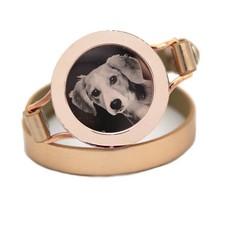 Graveer Armbanden Gouden dubbele Leren Armband met foto graveer munt smal rosé goud