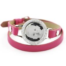 Graveer Armbanden Roze dubbele Leren Armband met foto graveer munt smal zilver met strass