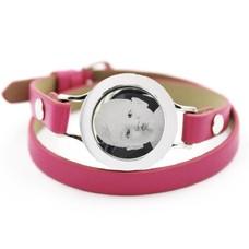 Graveer Armbanden Roze dubbele Leren Armband met foto graveer munt smal zilver
