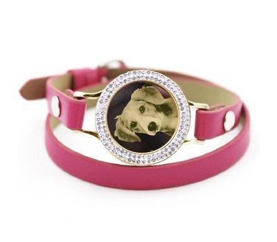 Graveer Armbanden Roze dubbele Leren Armband met foto graveer munt smal goud met strass