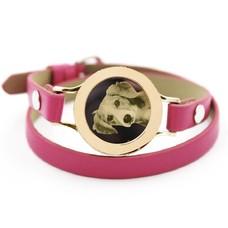 Graveer Armbanden Roze dubbele Leren Armband met foto graveer munt smal goud