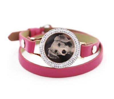 Graveer Armbanden Roze dubbele Leren Armband met foto graveer munt smal rosé goud met strass