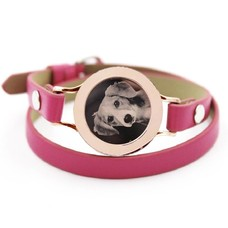 Graveer Armbanden Roze dubbele Leren Armband met foto graveer munt smal rosé goud