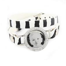 Graveer Armbanden Zebra dubbele Leren Armband met foto graveer munt smal zilver met strass