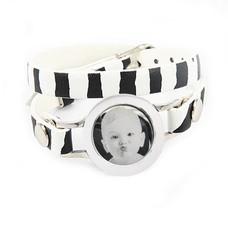 Graveer Armbanden Zebra dubbele Leren Armband met foto graveer munt smal zilver