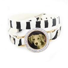 Graveer Armbanden Zebra dubbele Leren Armband met foto graveer munt smal goud met strass