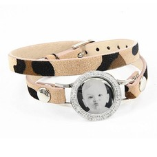 Graveer Armbanden Luipaard dubbele Leren Armband met foto graveer munt smal zilver met strass