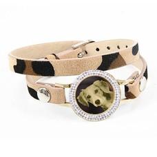 Graveer Armbanden Luipaard dubbele Leren Armband met foto graveer munt smal goud met strass