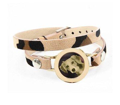 Graveer Armbanden Luipaard dubbele Leren Armband met foto graveer munt smal goud