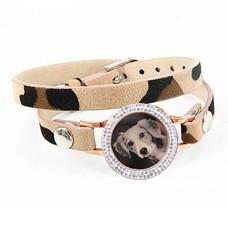Graveer Armbanden Luipaard dubbele Leren Armband met foto graveer munt smal rosé goud met strass