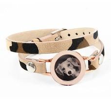 Graveer Armbanden Luipaard dubbele Leren Armband met foto graveer munt smal rosé goud