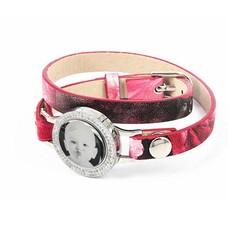 Graveer Armbanden Roze Tropical dubbele Leren Armband met foto graveer munt smal zilver met strass