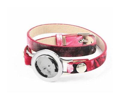 Graveer Armbanden Roze Tropical dubbele Leren Armband met foto graveer munt smal zilver