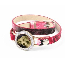 Graveer Armbanden Roze Tropical dubbele Leren Armband met foto graveer munt smal goud met strass