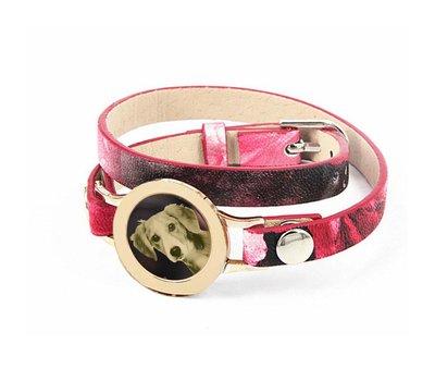 Graveer Armbanden Roze Tropical dubbele Leren Armband met foto graveer munt smal goud