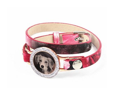 Graveer Armbanden Roze Tropical dubbele Leren Armband met foto graveer munt smal rosé goud met strass