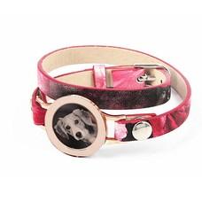 Graveer Armbanden Roze Tropical dubbele Leren Armband met foto graveer munt smal rosé goud