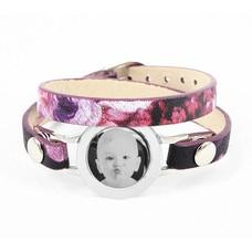 Graveer Armbanden Paars Tropical dubbele Leren Armband met foto graveer munt smal zilver