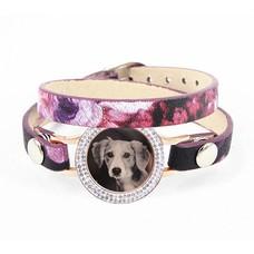 Graveer Armbanden Paars Tropical dubbele Leren Armband met foto graveer munt smal rosé goud met strass