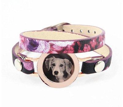 Graveer Armbanden Paars Tropical dubbele Leren Armband met foto graveer munt smal rosé goud