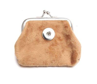 Clicks Sieraden Knip portemonnee fluweel beige