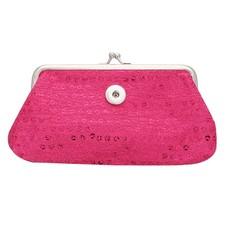 Clicks Sieraden Knip portemonnee pailletten groot donker roze