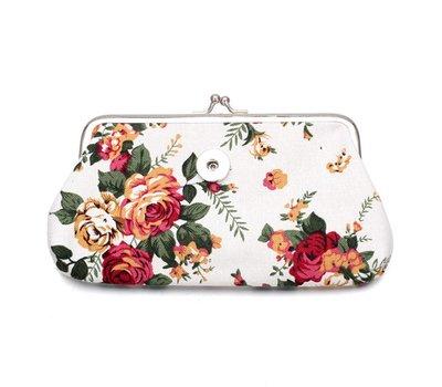 Clicks Sieraden Knip portemonnee groot bloemen wit